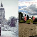 Schloss Neustrelitz Bildvergleich 1940 vs. 2017 Stadtbild Mecklenburg-Strelitz Skulpturen Winter Schlossturm