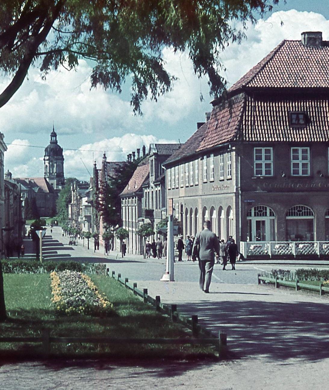 Schloss Neustrelitz Markt-Ansicht Turm Farbfoto um 1940 Ausschnitt Schlossturm Marktplatz