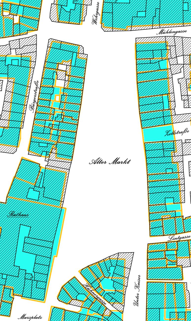 Alter Markt Grundstücke früher und heute