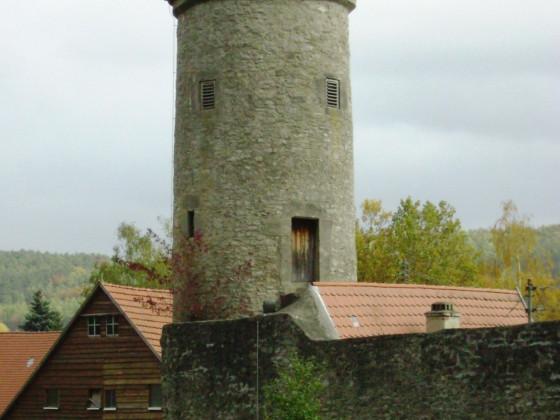 Schneckenturm in der NO-Ecke der Röttinger Stadtmauer ( Zustand von 2008 )