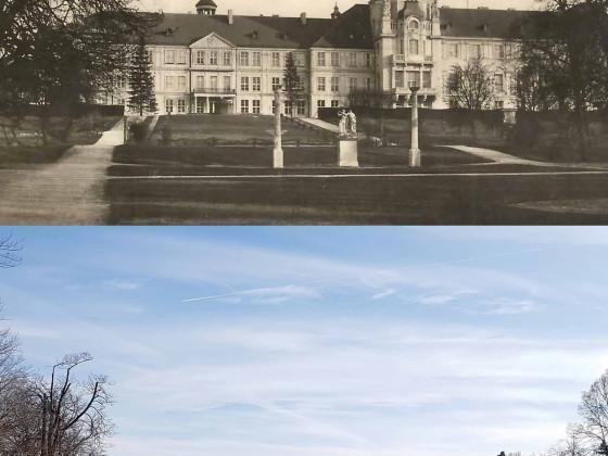 Schloss Neustrelitz Parkansicht Bildvergleich