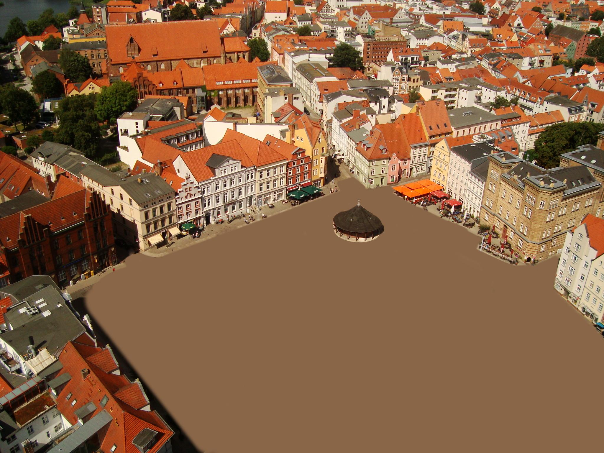 Neuer Markt Stralsund autofreie Leerfläche zur Umgestaltung - Skizze