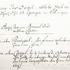 Disposition der Villinger Orgel als Dokument beim Verkauf nach Karlsruhe