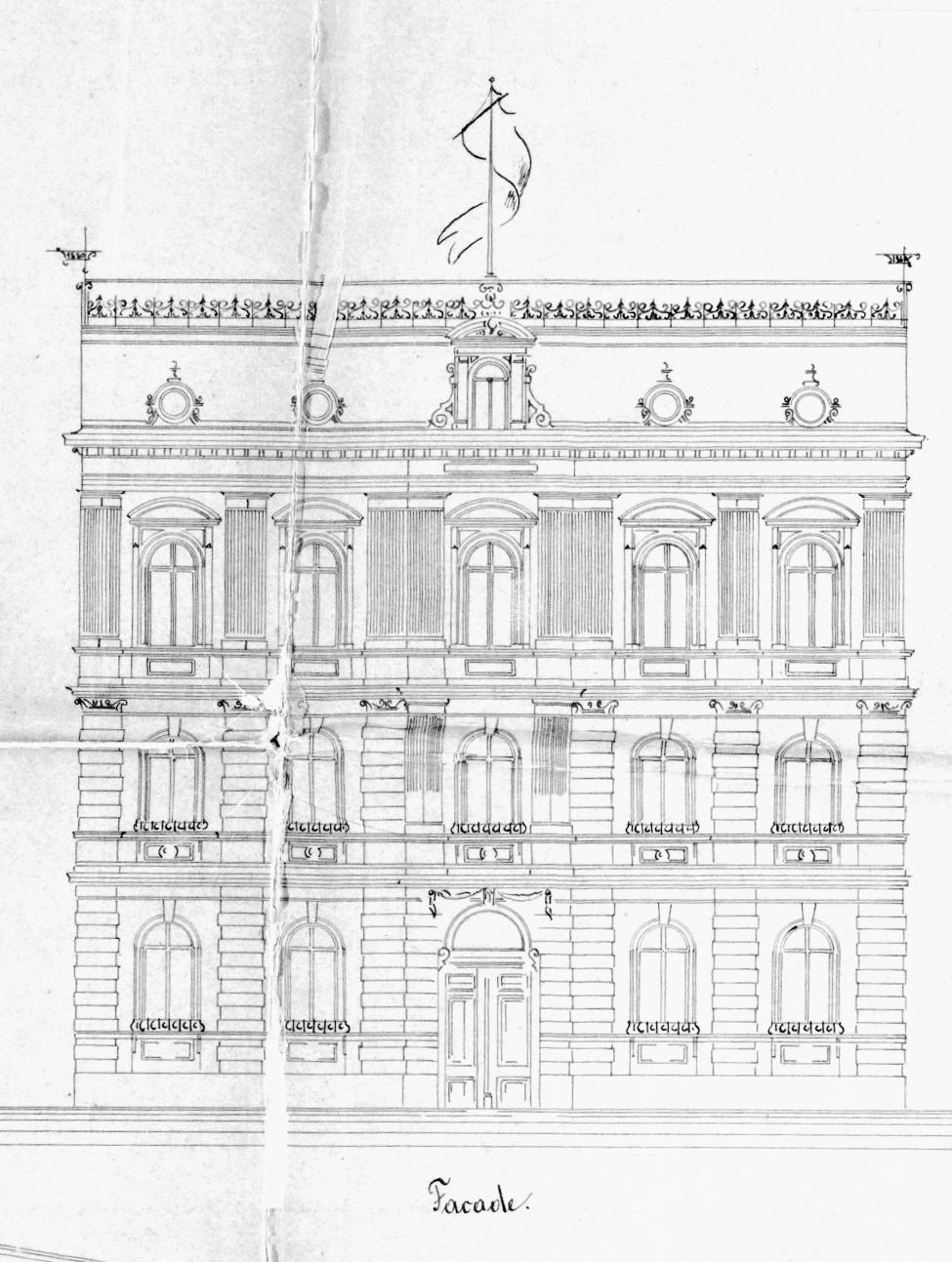 Bauzeichnung eines Gründerzeitlers