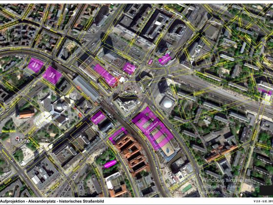 Berlin Alexanderplatz - Aufprojektion des hist. Straßenbildes - V.2.0