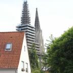 Durchblick zur Wiesenkirche am 11.09.2016 - am Tag vor dem Abbau des Gerüsts am Nordturm