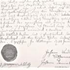 Kontrakt 1751, links Siegel + Unterschrift Klostervorsteher, rechts beide Orgelbauer;