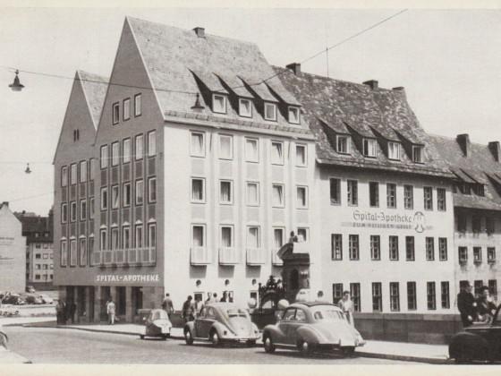 Ak Museumsbrücke Spitalapotheke um 1950
