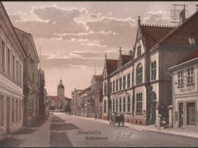 Neustrelitz Schloßstraße Hauptpost Schlossturm historische Ansichtskarte um 1912