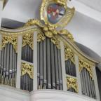 Lahm Schlosskirche: Oberwerk mit Wappenschild des  Freiherrn von Lichtenstein