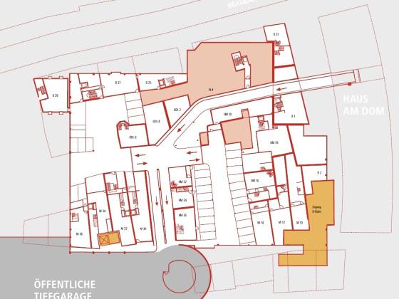 Frankfurt, Dom-Roemer-Areal, Untergeschosse der Häuser mit Tiefgarage.