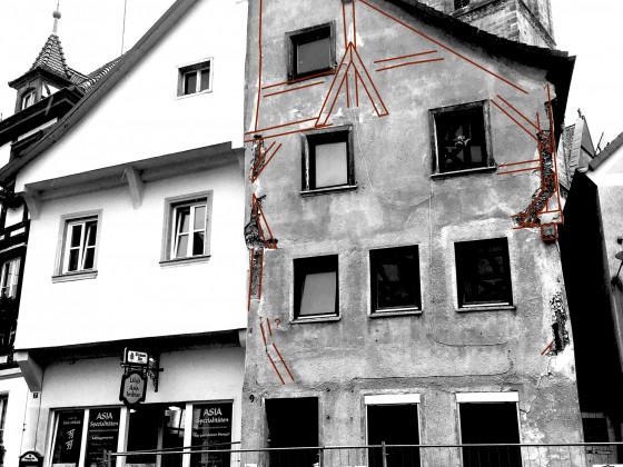 Forchheim, Sattlertorstr. 9, Durchzeichnung des Fachwerks