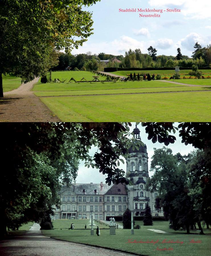 Schloss Neustrelitz Bildvergleich 1940 vs. 2017 Stadtbild Mecklenburg-Strelitz Parkansicht Schlossturm